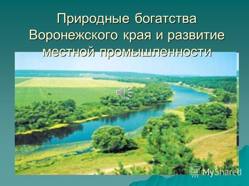 Природные богатства Воронежского края и развитие местной промышленности