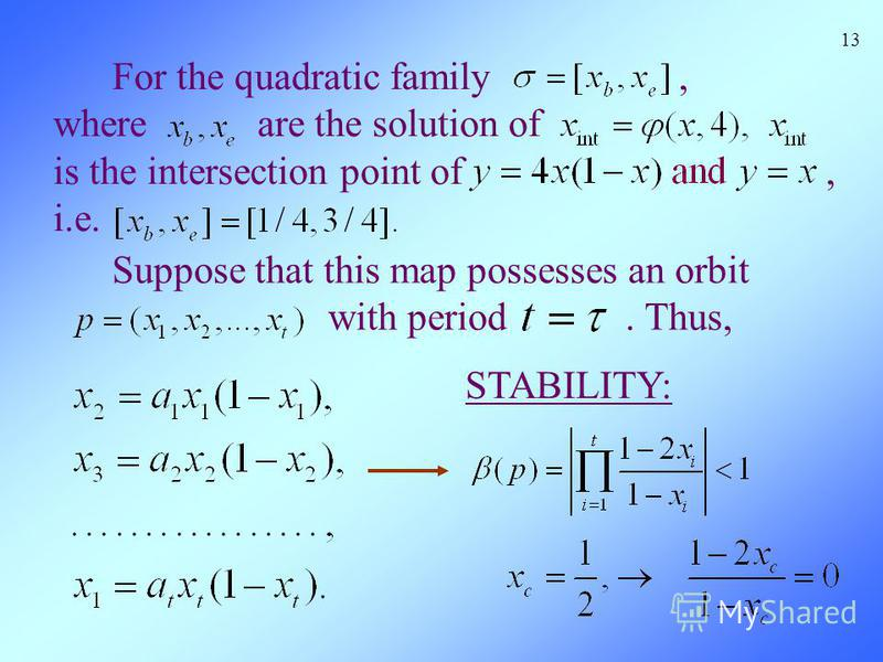 For the quadratic family, where are the solution of is the intersection point of, i.e. 13 Suppose that this map possesses an orbit with period. Thus, STABILITY: