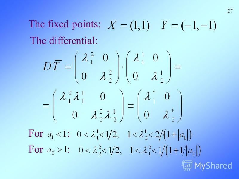 The fixed points: For : 27 The differential: