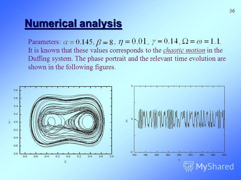 Numerical analysis Parameters:,,,,. It is known that these values corresponds to the chaotic motion in the Duffing system. The phase portrait and the relevant time evolution are shown in the following figures. 36