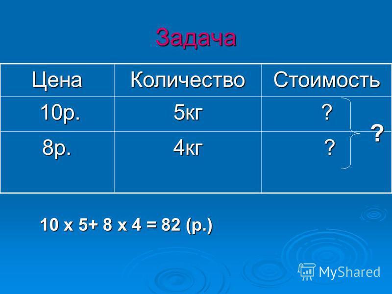 Задача Цена КоличествоСтоимость 10 р. 10 р.5 кг? 8 р.4 кг ? 10 х 5+ 8 х 4 = 82 (р.) ?