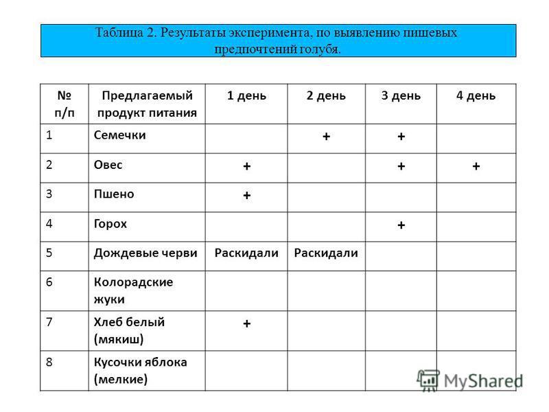 Таблица 2. Результаты эксперимента, по выявлению пищевых предпочтений голубя. п/п Предлагаемый продукт питания 1 день 2 день 3 день 4 день 1Семечки ++ 2Овес +++ 3Пшено + 4Горох + 5Дождевые черви Раскидали 6 Колорадские жуки 7 Хлеб белый (мякиш) + 8Ку