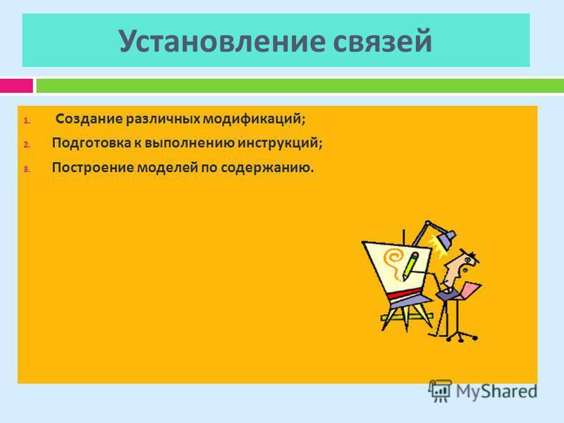 Установление связей 1. C создание различных модификаций ; 2. Подготовка к выполнению инструкций ; 3. Построение моделей по содержанию.