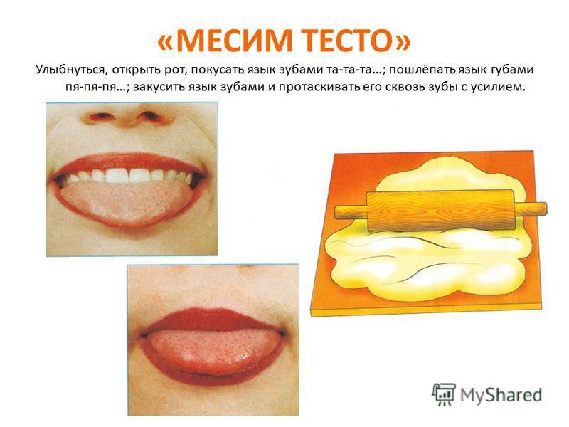 «МЕСИМ ТЕСТО» Улыбнуться, открыть рот, покусать язык зубами та-та-та…; пошлёпать язык губами пя-пя-пя…; закусить язык зубами и протаскивать его сквозь зубы с усилием.