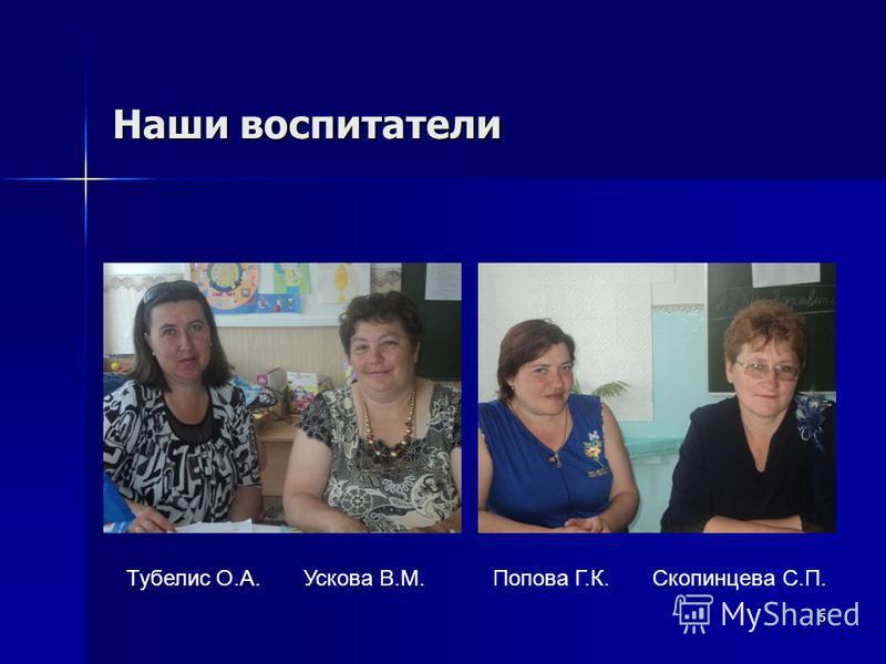 Наши воспитатели 5 Тубелис О.А. Ускова В.М. Попова Г.К. Скопинцева С.П.