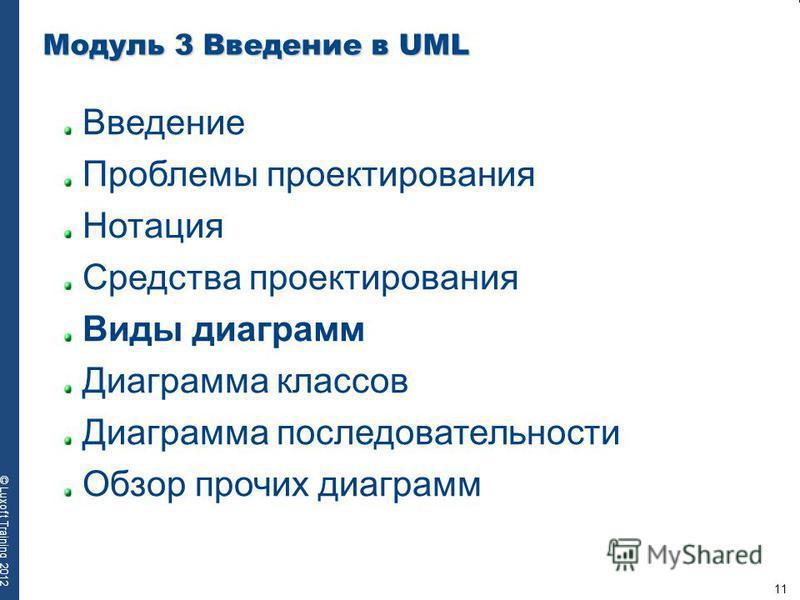 11 © Luxoft Training 2012 Модуль 3 Введение в UML Введение Проблемы проектирования Нотация Средства проектирования Виды диаграмм Диаграмма классов Диаграмма последовательности Обзор прочих диаграмм