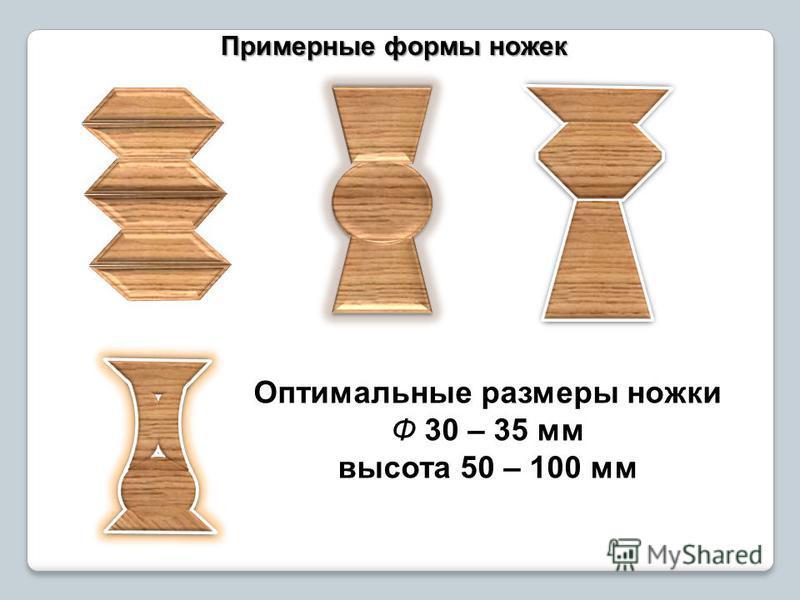 Примерные формы ножек Оптимальные размеры ножки Ф 30 – 35 мм высота 50 – 100 мм