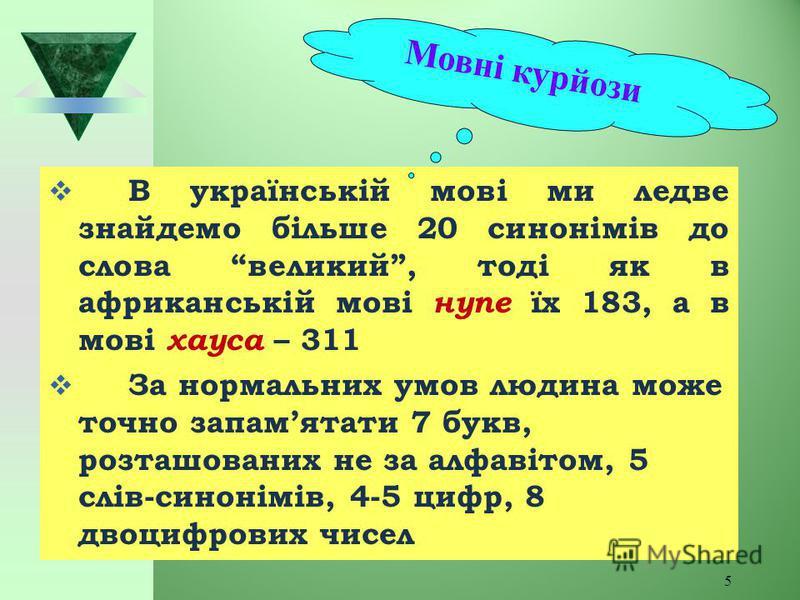 5 В українській мові ми ледве знайдемо більше 20 синонімів до слова великий, тоді як в африканській мові нупе їх 183, а в мові хауса – 311 За нормальних умов людина може точно запам ятати 7 букв, розташованих не за алфавітом, 5 слів-синонімів, 4-5 ци