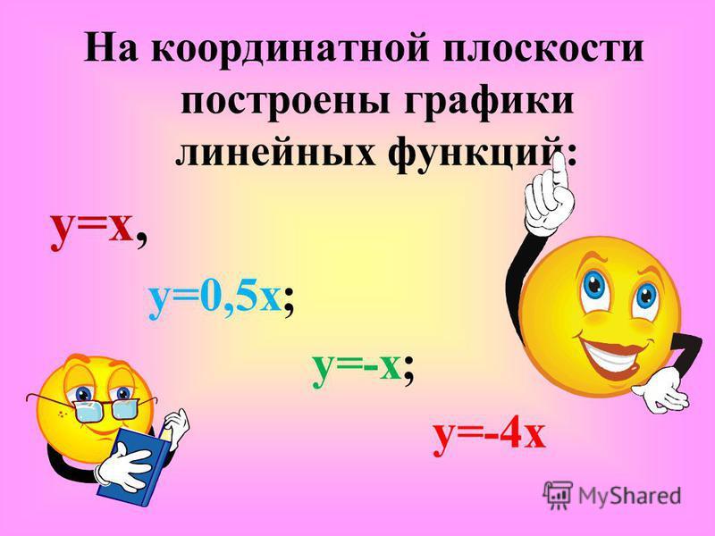 На координатной плоскости построены графики линейных функций: y=x, y=0,5x; y=-x; y=-4x