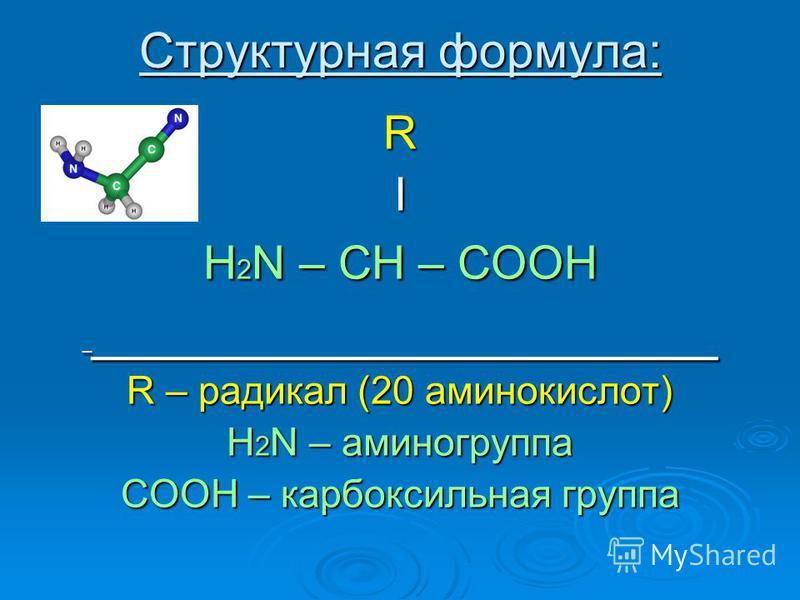 Структурная формула: RI H 2 N – CH – COOH _ _____________________ R – радикал (20 аминокислот) H 2 N – аминогруппа COOH – карбоксильная группа