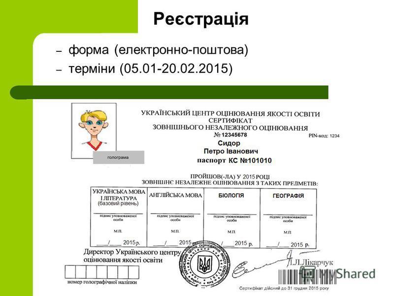 Реєстрація – форма (електронно-поштова) – терміни (05.01-20.02.2015)