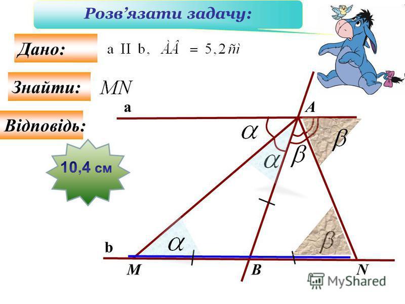M A BN Знайти: Дано: a b Розвязати задачу: Відповідь:
