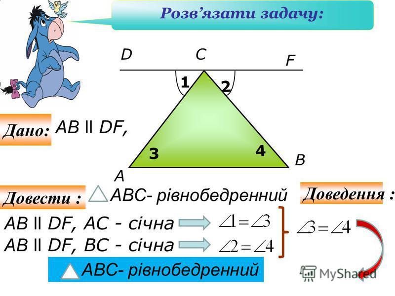 A F B АB l l DF, АС - січна СD 1 2 АВС- рівнобедренний Розвязати задачу: Дано: Довести : Доведення : АB ll DF, 3 АB l l DF, ВС - січна 4 АВС- рівнобедренний