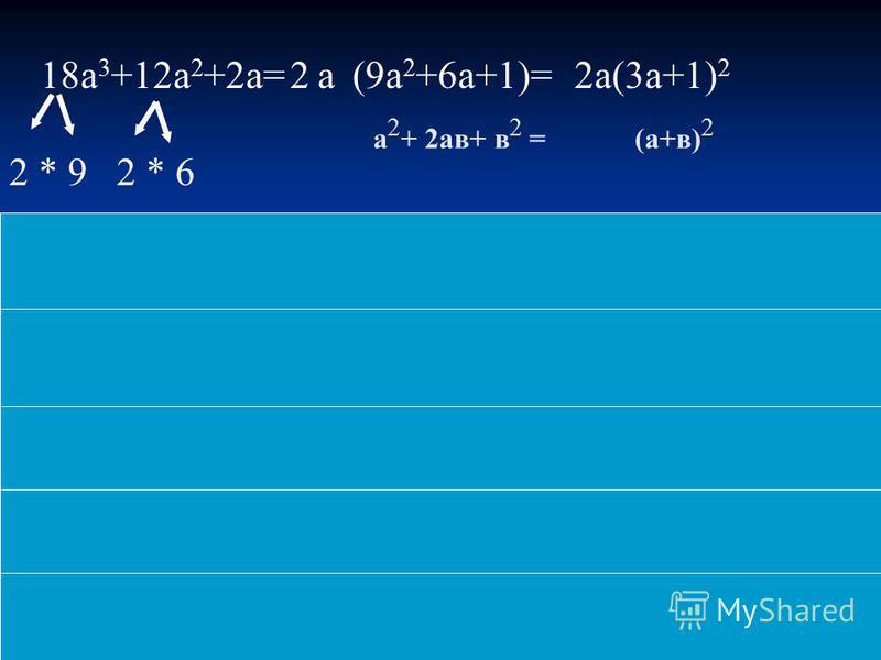 18a 3 +12a 2 +2a=(9a 2 +6a+1)=2a(3a+1) 2 2 * 92 * 6 а 2 + 2 ав+ в 2 = (а+в) 2 a2