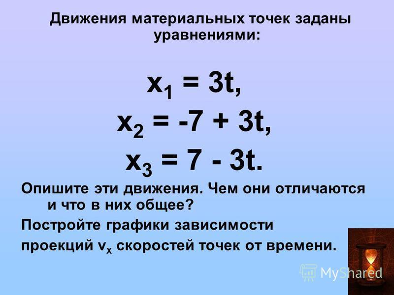 Движения материальных точек заданы уравнениями: x 1 = 3t, х 2 = -7 + 3t, х 3 = 7 - 3t. Опишите эти движения. Чем они отличаются и что в них общее? Постройте графики зависимости проекций v x скоростей точек от времени.