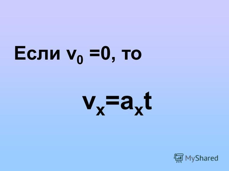Если v 0 =0, то v х =a х t