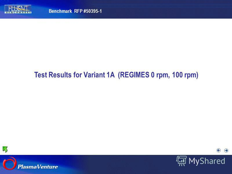 The purpose researches Test Results for Variant 1A (REGIMES 0 rpm, 100 rpm) Benchmark RFP #50395-1