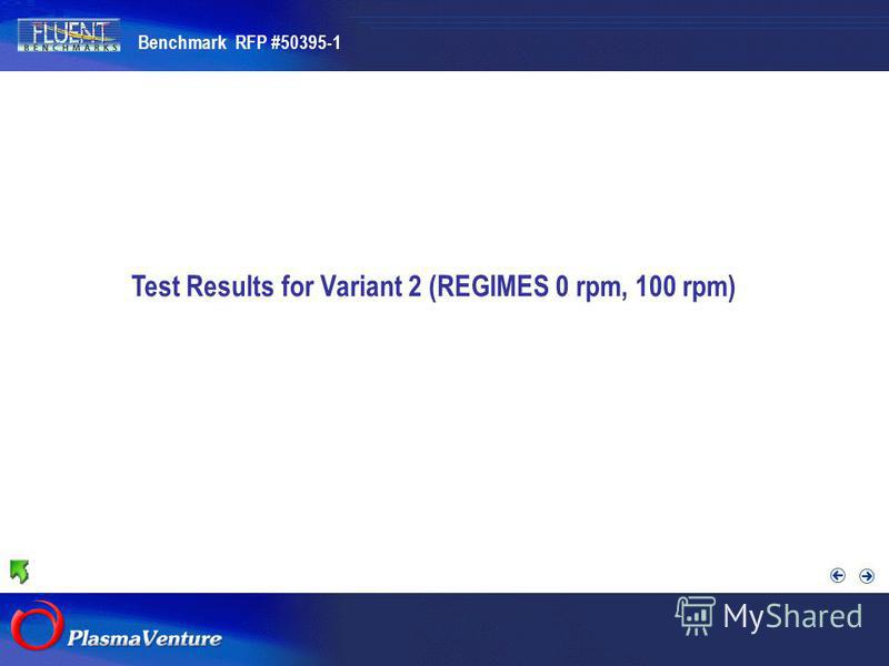 The purpose researches Test Results for Variant 2 (REGIMES 0 rpm, 100 rpm) Benchmark RFP #50395-1