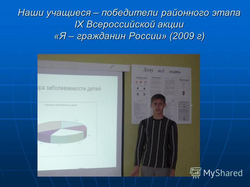 Наши учащиеся – победители районного этапа IX Всероссийской акции «Я – гражданин России» (2009 г)
