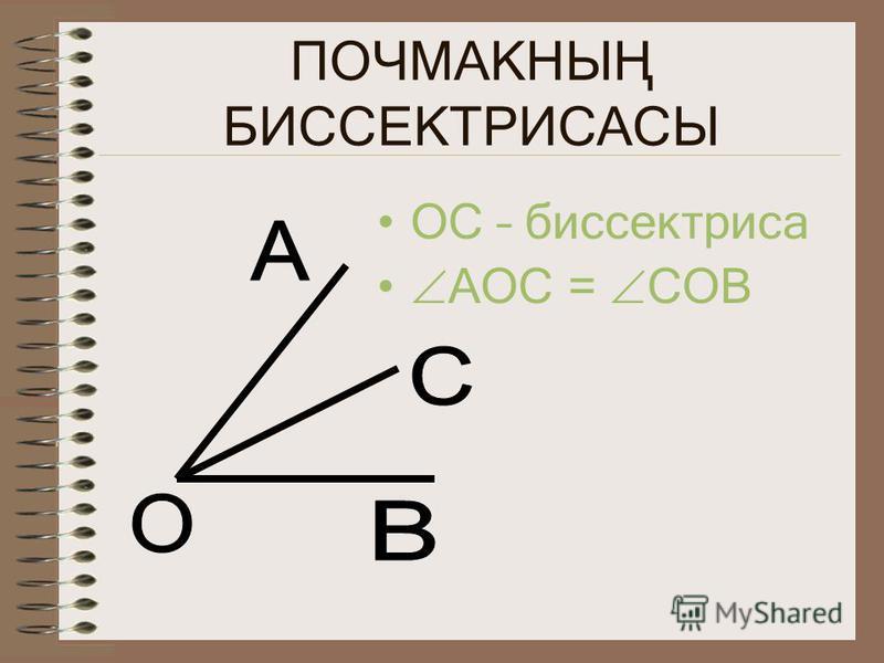 ПОЧМАКНЫҢ БИССЕКТРИСАСЫ ОС – биссектриса АОС = СОВ