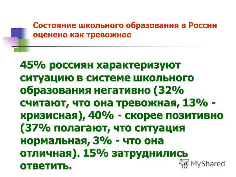 Состояние школьного образования в России оценено как тревожное 45% россиян характеризуют ситуацию в системе школьного образования негативно (32% считают, что она тревожная, 13% - кризисная), 40% - скорее позитивно (37% полагают, что ситуация нормальн