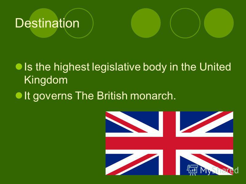 Destination Is the highest legislative body in the United Kingdom It governs The British monarch.