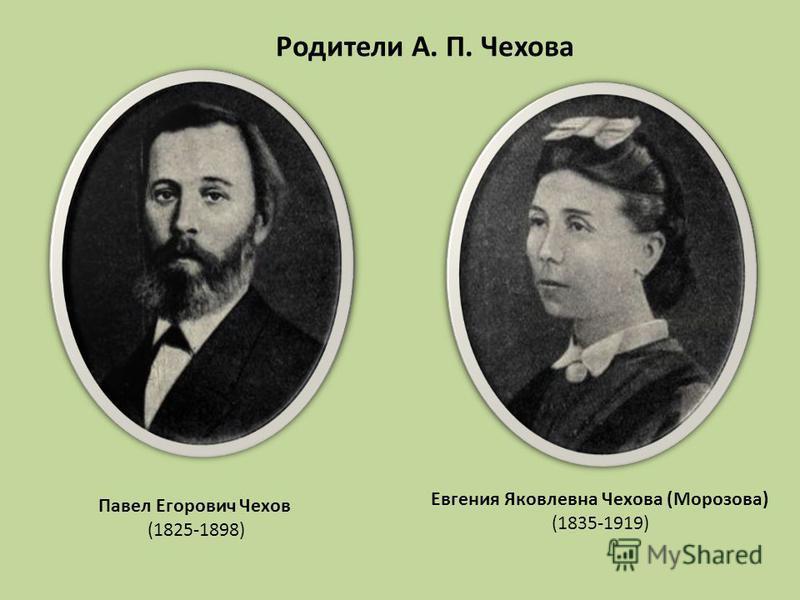 Павел Егорович Чехов (1825-1898) Родители А. П. Чехова Евгения Яковлевна Чехова (Морозова) (1835-1919)