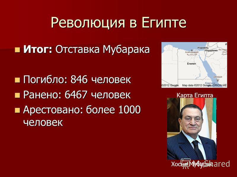 Революция в Египте Итог: Отставка Мубарака Итог: Отставка Мубарака Погибло: 846 человек Погибло: 846 человек Ранено: 6467 человек Ранено: 6467 человек Арестовано: более 1000 человек Арестовано: более 1000 человек Карта Египта Хосни Мубарак
