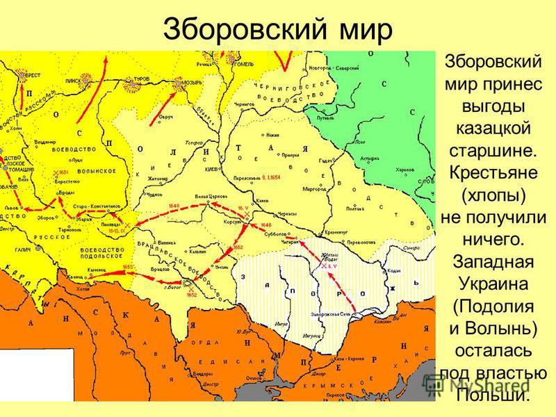 Зборовский мир Зборовский мир принес выгоды казацкой старшине. Крестьяне (хлопы) не получили ничего. Западная Украина (Подолия и Волынь) осталась под властью Польши.