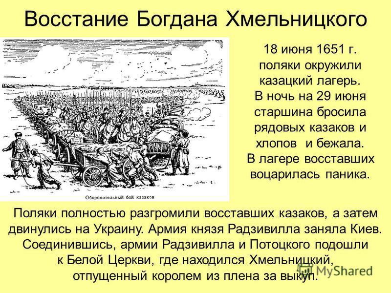 Восстание Богдана Хмельницкого 18 июня 1651 г. поляки окружили казацкий лагерь. В ночь на 29 июня старшина бросила рядовых казаков и хлопов и бежала. В лагере восставших воцарилась паника. Поляки полностью разгромили восставших казаков, а затем двину