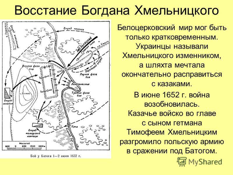 Восстание Богдана Хмельницкого Белоцерковский мир мог быть только кратковременным. Украинцы называли Хмельницкого изменником, а шляхта мечтала окончательно расправиться с казаками. В июне 1652 г. война возобновилась. Казачье войско во главе с сыном г