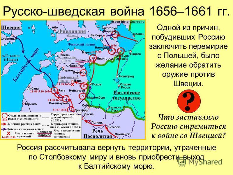 Русско-шведская война 1656–1661 гг. Одной из причин, побудивших Россию заключить перемирие с Польшей, было желание обратить оружие против Швеции. Что заставляло Россию стремиться к войне со Швецией? ? Россия рассчитывала вернуть территории, утраченны