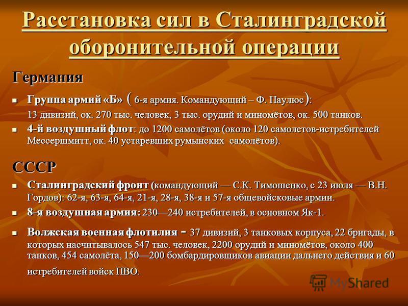Расстановка сил в Сталинградской оборонительной операции Германия Группа армий «Б» ( 6-я армия. Командующий – Ф. Паулюс ) : Группа армий «Б» ( 6-я армия. Командующий – Ф. Паулюс ) : 13 дивизий, ок. 270 тыс. человек, 3 тыс. орудий и миномётов, ок. 500