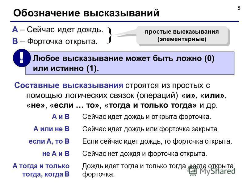 5 Обозначение высказываний A – Сейчас идет дождь. B – Форточка открыта. простые высказывания (элементарные) Составные высказывания строятся из простых с помощью логических связок (операций) «и», «или», «не», «если … то», «тогда и только тогда» и др.