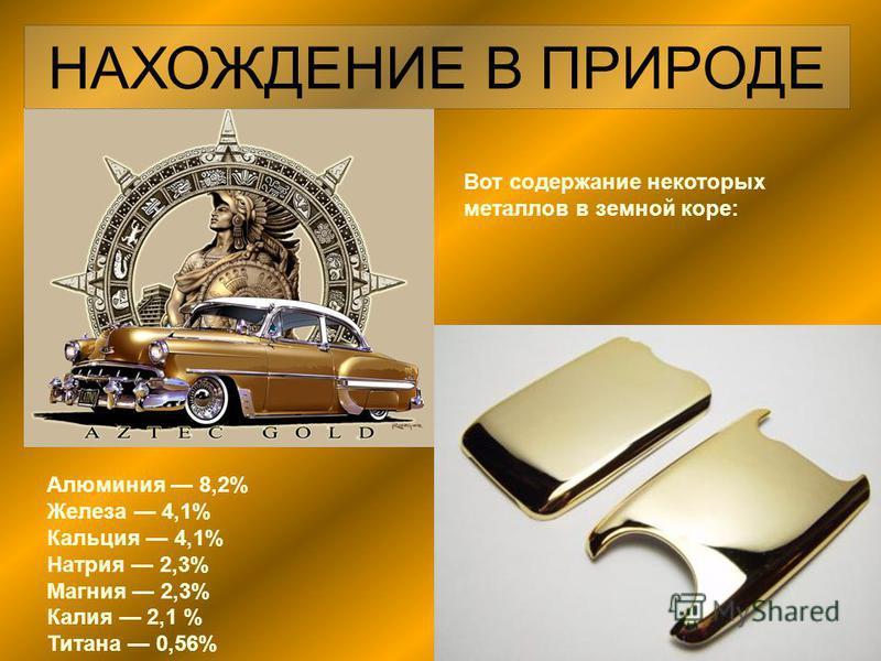 НАХОЖДЕНИЕ В ПРИРОДЕ Алюминия 8,2% Железа 4,1% Кальция 4,1% Натрия 2,3% Магния 2,3% Калия 2,1 % Титана 0,56% Вот содержание некоторых металлов в земной коре: