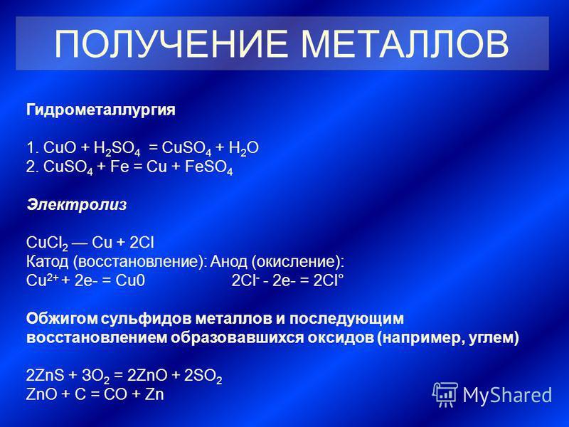 Гидрометаллургия 1. CuO + H 2 SO 4 = CuSO 4 + H 2 O 2. CuSO 4 + Fe = Cu + FeSO 4 Электролиз СuСl 2 Cu + 2Сl Катод (восстановление): Анод (окисление): Сu 2+ + 2 е- = Сu0 2Cl - - 2 е- = 2Сl° Обжигом сульфидов металлов и последующим восстановлением обра
