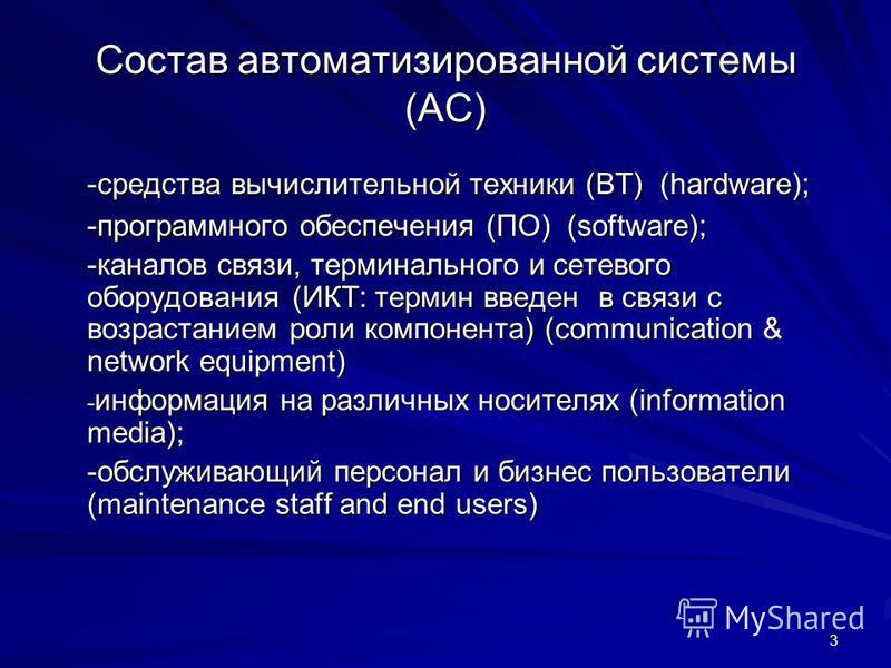 3 Состав автоматизированной системы (АС) -средства вычислительной техники (ВТ) (hardware); -программного обеспечения (ПО) (software); -каналов связи, терминального и сетевого оборудования (ИКТ: термин введен в связи с возрастанием роли компонента) (c