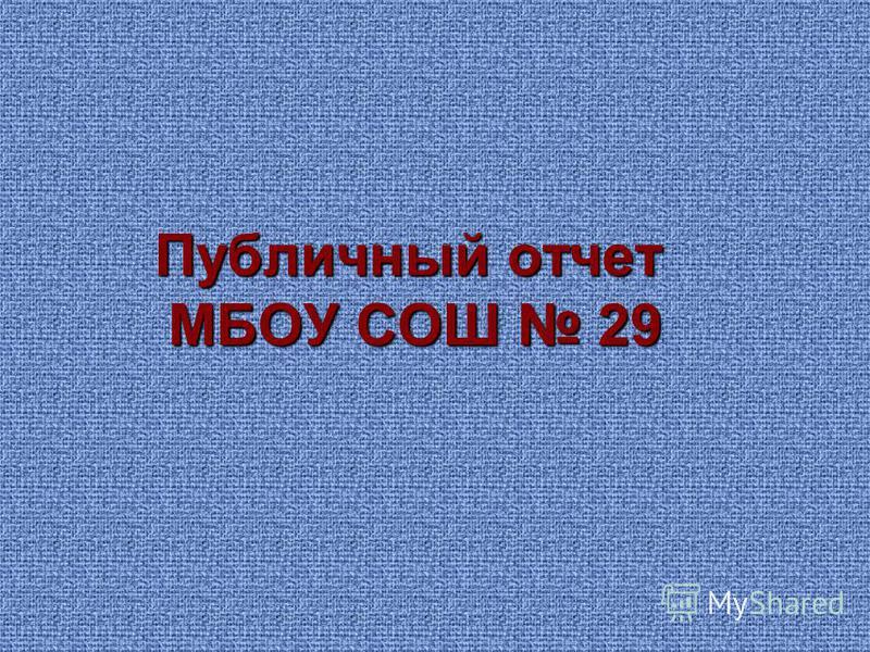 Публичный отчет МБОУ СОШ 29