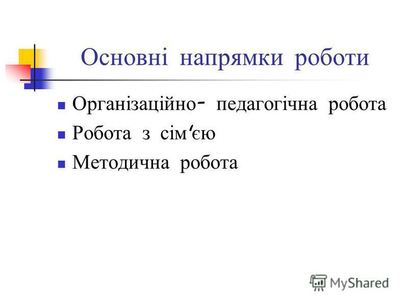 Основні напрямки роботи Організаційно - педагогічна робота Робота з сім ' єю Методична робота
