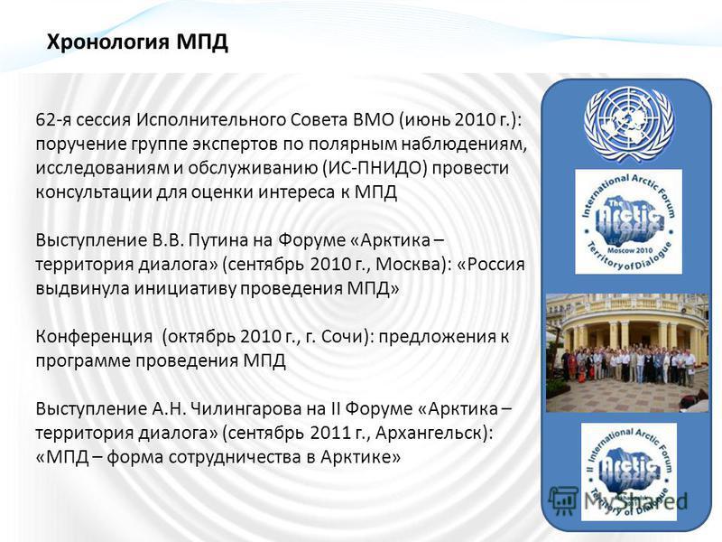 62-я сессия Исполнительного Совета ВМО (июнь 2010 г.): поручение группе экспертов по полярным наблюдениям, исследованиям и обслуживанию (ИС-ПНИДО) провести консультации для оценки интереса к МПД Выступление В.В. Путина на Форуме «Арктика – территория
