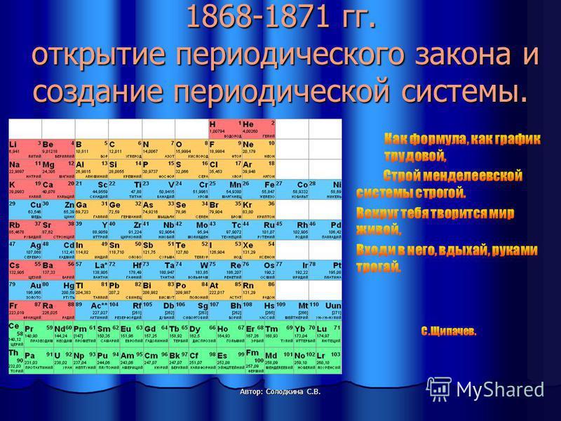 1868-1871 гг. открытие периодического закона и создание периодической системы.
