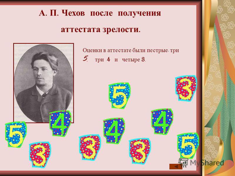 Оценки в аттестате были пестрые - три 5, три 4 и четыре 3. А. П. Чехов после получения аттестата зрелости.