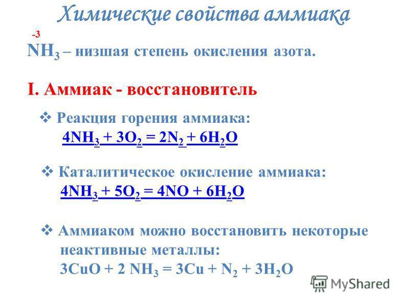 Химические свойства аммиака NH 3 – низшая степень окисления азота. -3 I. Аммиак - восстановитель Реакция горения аммиака: Реакция горения аммиака: 4NH 3 + 3O 2 = 2N 2 + 6H 2 O 4NH 3 + 3O 2 = 2N 2 + 6H 2 O4NH 3 + 3O 2 = 2N 2 + 6H 2 O4NH 3 + 3O 2 = 2N