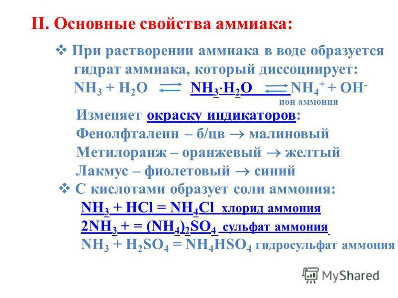 II. Основные свойства аммиака: При растворении аммиака в воде образуется При растворении аммиака в воде образуется гидрат аммиака, который диссоциирует: гидрат аммиака, который диссоциирует: NH 3 + H 2 O NH 3 H 2 O NH 4 + + OH - NH 3 + H 2 O NH 3 H 2