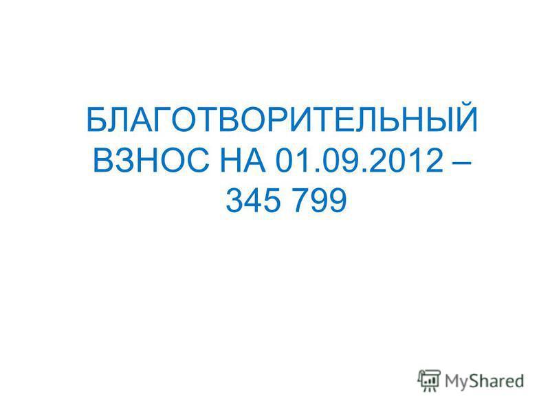 БЛАГОТВОРИТЕЛЬНЫЙ ВЗНОС НА 01.09.2012 – 345 799