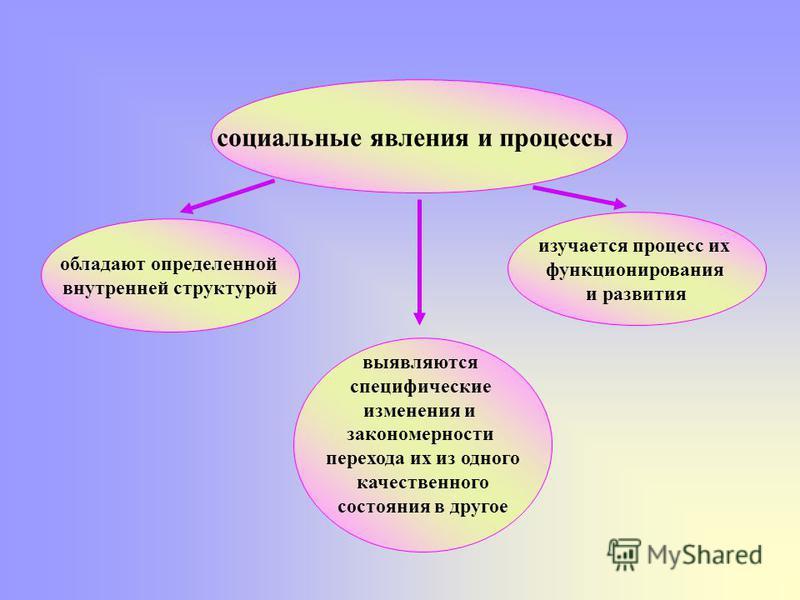 социальные явления и процессы обладают определенной внутренней структурой изучается процесс их функционирования и развития выявляются специфические изменения и закономерности перехода их из одного качественного состояния в другое