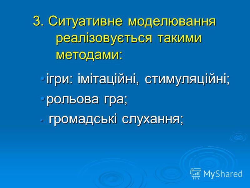 3. Ситуативне моделювання реалізовується такими методами: ігри: імітаційні, стимуляційні;ігри: імітаційні, стимуляційні; рольова гра;рольова гра; громадські слухання; громадські слухання;