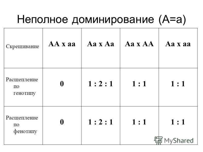 Неполное доминирование (А=а) Скрещивание АА х а Аа х Аа Аа х АААа х а Расщепление по генотипу 01 : 2 : 11 : 1 Расщепление по фенотипу 01 : 2 : 11 : 1