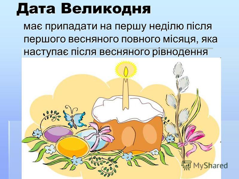 Дата Великодня має припадати на першу неділю після першого весняного повного місяця, яка наступає після весняного рівнодення має припадати на першу неділю після першого весняного повного місяця, яка наступає після весняного рівнодення