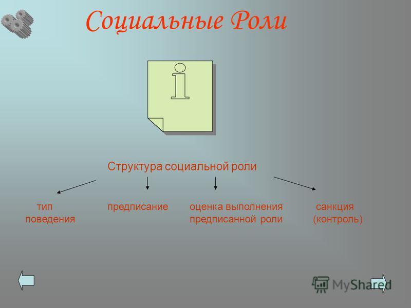 Социальные Роли Структура социальной роли тип предписание оценка выполнения санкция поведения предписанной роли (контроль)